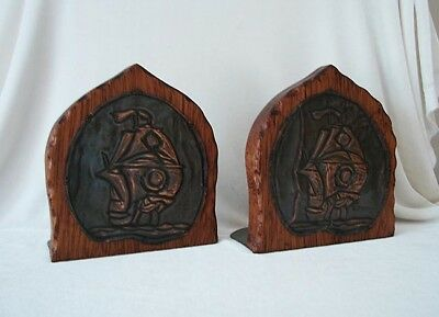 Arts & Crafts Wood & Copper Bookends