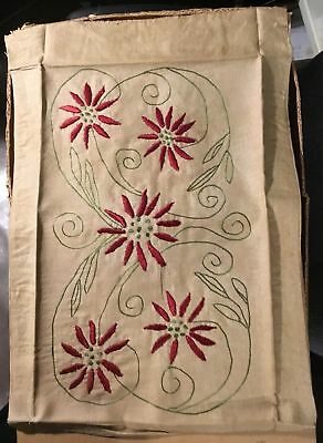 Mission Arts & Crafts Embroidered Linen Pillow Cover