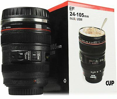 Unitamaze Camera Lens Coffee Mug Travel Thermos  Stainless Steel Insulated Cup