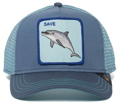 31fef8d4f38 Goorin Bros Dolphin Animal Farm Trucker Baseball Hat Cap Blue Save The  Dolphins