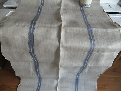"Antique Homespun Fishbone Grain Sack Linen Fabric Blue Stripes 38 "" by 3 Yards"
