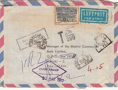 1982 Denmark To Pakistan Cover With Postage Due T/200 Damage And Rough On Revers