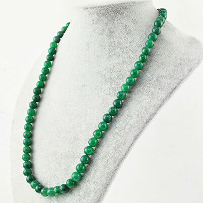 Jewelry & Watches Fine Necklaces & Pendants 190.50 Cts Earth Mined Single Strand Green Emerald Round Shape Beads Necklace