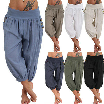 Womens Palazzo Harem 3/4 Pants leggings Baggy Aladdin Boho Hippy Trousers 6 - 24