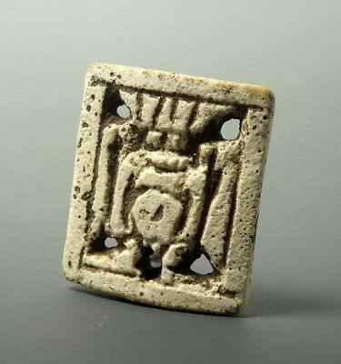Egyptian Faience Openwork Bes Plaque Amulet (L839)