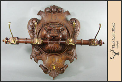 carved wood lion wall hook rack germany 1900