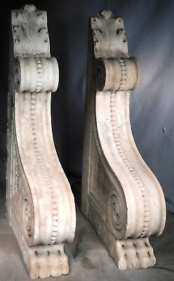 Pair Antique Italy Ancient Roman Corbel Bracket Carve White Marble Architectural