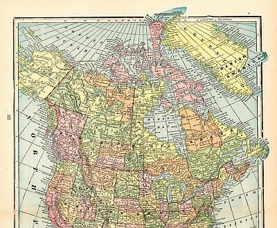 1903 Antique NORTH AMERICA Map Vintage Map of North America Gallery Wall  #5288
