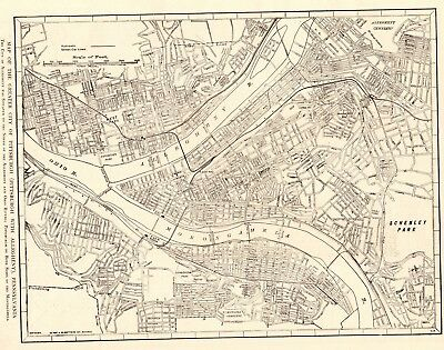 1917 Antique PITTSBURGH Map Vintage City Map of Pittsburgh Pennsylvania 5297