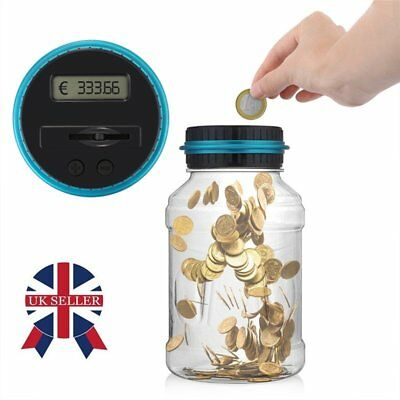 Digital Money Storage Box Safe Jar Electronic LCD Coin Counting Piggy Bank UK