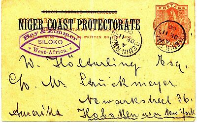1900 Gb Ps Card 'niger Coast Protectorate' Benin River Usa