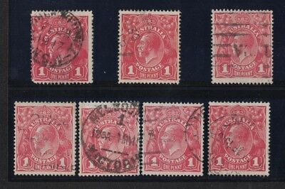 1914 Australia KGV 1d red SG 21 seven shades used