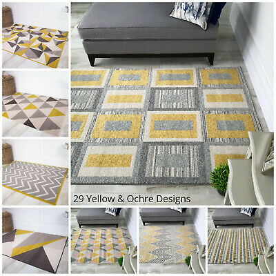 New Ochre Yellow Mustard Grey Living Room Rug Kaleidoscope Geometric Area Rugs