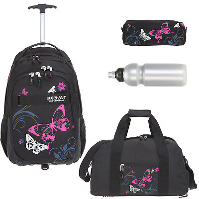 4T Set Trolley ELEPHANT HERO SIGNATURE Schultrolley 12680 BUTTERFLY BLK PINK +f
