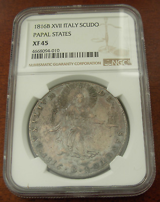 Italy Papal States 1816 B XVII Silver Scudo NGC XF45