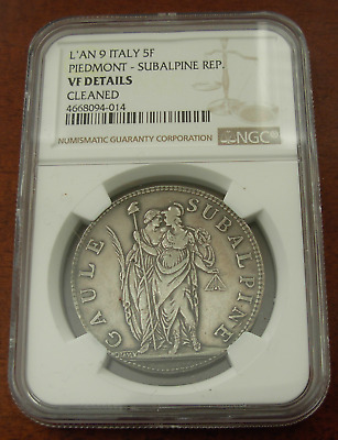 Italy Piedmont - Subalpine Republic 1800 L'AN 9 Silver 5 Francs NGC VF Details