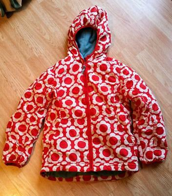 Mini Boden Girls Anorak Jacket Size 13-14 Red White Flowers Coat Vguc Winter