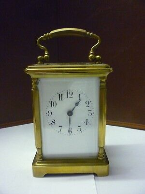Vintage Brass 8 Day Carriage Clock With Fancy Pillars In Good Working Order (7)