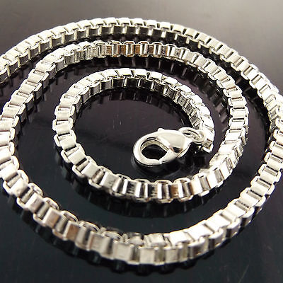 Necklace Chain 925 Sterling Silver Sf Solid Heavy Chunky Box Link Design Fs3A939