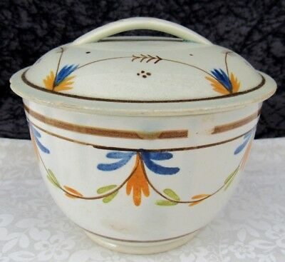 Antique Staffordshire Leeds Pottery Pearlware 4 Color Covered Sugar Bowl