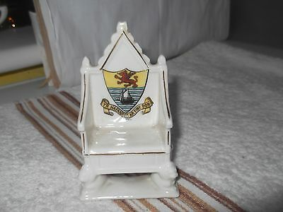 Vintage Model Of A Throne / Chair Crested Rhyl By Gemma China Czecho-Slovakia