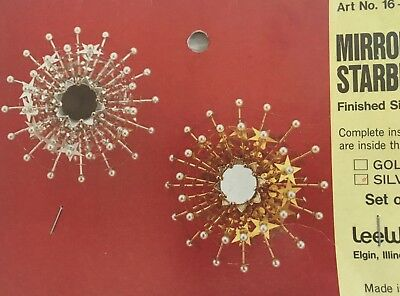 Vintage Mirrored Starburst Set of 2 Ornament Kit Lee Wards Silver NEW in Package