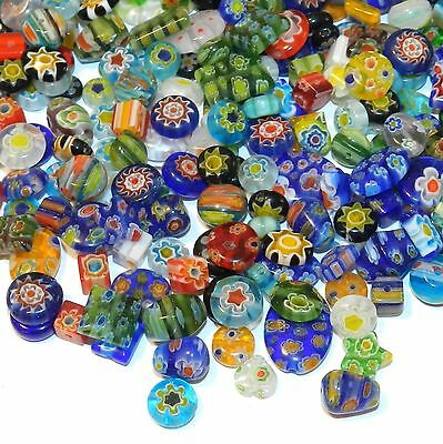 G3484 Assorted Color Mixed Shape 4mm - 14mm Millefiori Flower Glass Beads 1oz