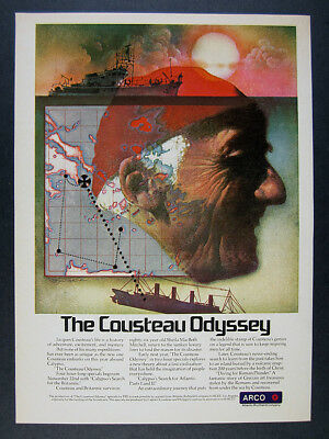 1978 Jacques Cousteau & Calypso painting art PBS Special Promo vintage print Ad