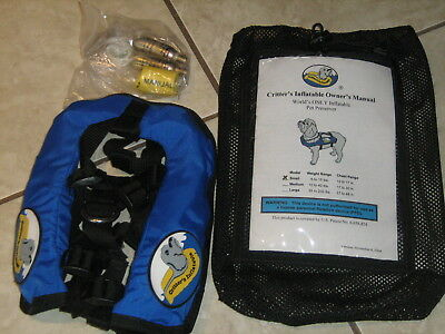 Critter's Inflatable Pet Life Preserver Jacket Vest Small Blue 6-15 pounds NEW