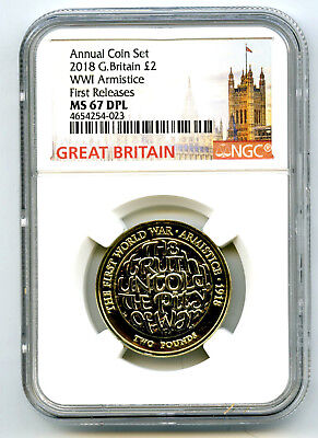 2018 Great Britain 2Pnd Ngc Ms67 Dpl World War I Wwi Armistice First Releases