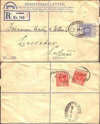 Nigeria 1927 Registered Envelope Lagos To Great Britain.
