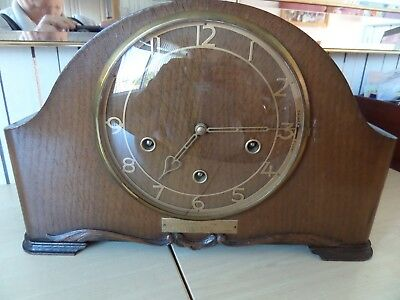 Lovely Vintage Smiths Westminster Chime Mantle Clock, Plaque Dates It To 1950
