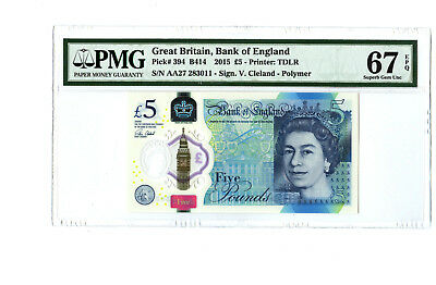 2015 5Pd Great Britain Bank Of England Pmg 67 Epq #394 Banknote Gem Prefix Aa