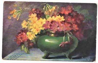 VINTAGE A/S POSTCARD,VASE OF FLOWERS,ERNEST NISTER #SERIES 132, c1910,MARY GALAY