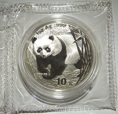 2001 Double Sealed Mirrored Bamboo Chinese Panda Silver 10 Yuan NO RETURNS
