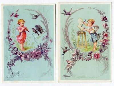 Cherubs flowers birds victorian french 2 greeting cards 1880s cherubs flowers birds victorian french 2 greeting cards 1880s playing flute m4hsunfo