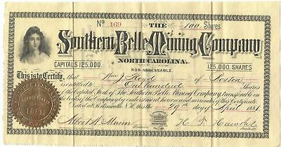 """1881 """"southern Belle"""" Mining Company Of North Carolina Stock Certificate"""