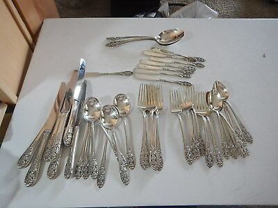 "Fine Arts ""Crown Princess"" Sterling Silver Flatware Set. 51 pieces 62 toz"