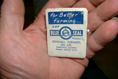 Vintage  Paper Clip BLUE SEAL KENDALL OIL CO. COOP Farm Advertising Yorkville il