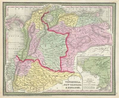 1854 Mitchell Map of Venezuela, Colombia and Ecuador