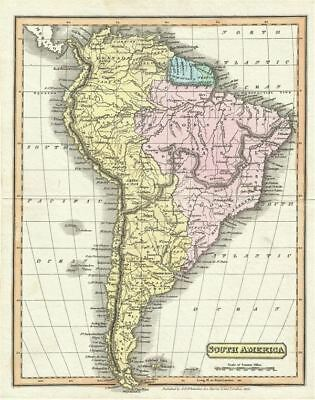 1825 Whittaker Map of South America