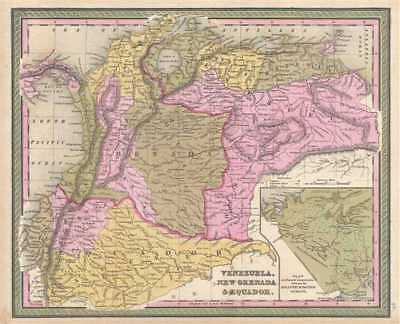 1849 Mitchell Map of Venezuela, Colombia and Ecuador