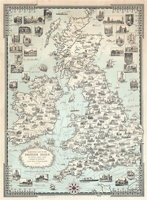 1935 Ernest Dudley Chase Pictorial Map of the British Isles