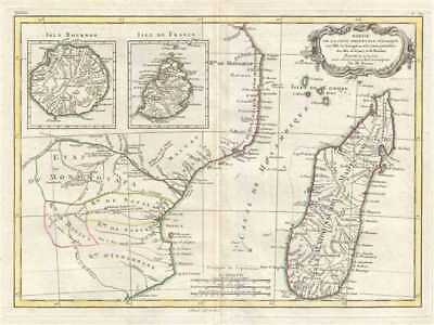 1778 Bonne Map of East Africa, Madagascar, Isle Bourbon, Mauritius (Mozambique)