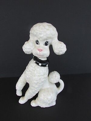 Vintage Mid Century 1950's White Large Collared Poodle Porcelain Dog Figurine