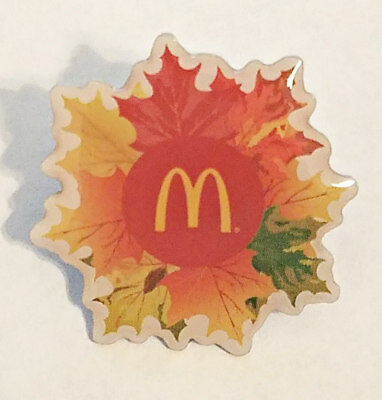 New McDonald's Holiday Lapel Pin Fall Leaves Gathering Around The Golden Arches