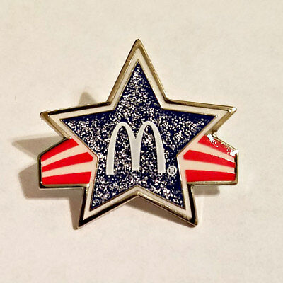New McDonald's Lapel Pin Glitter Red White & Blue Star
