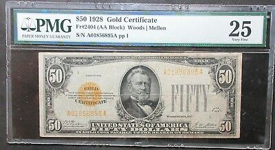 1928 $50 Gold Certificate Fr#2404 (Aa Block) Woods | Mellon Pmg 25 Very Fine