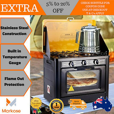 Camping Cooking Portable LPG Gas 3 Burner Stainless Steel Cooker Oven Stove
