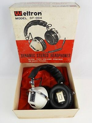 Rare Mid-Century Weltron 37-004 Headphones w/ Box for 8-track / Record Stereo